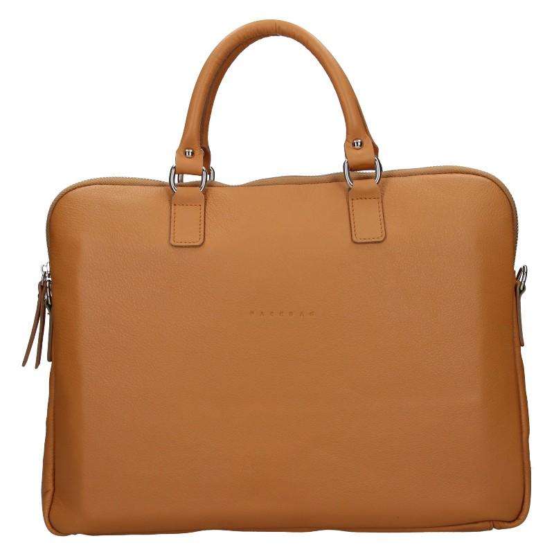 Unisex kožená taška na notebook Facebag Milano - hnedá