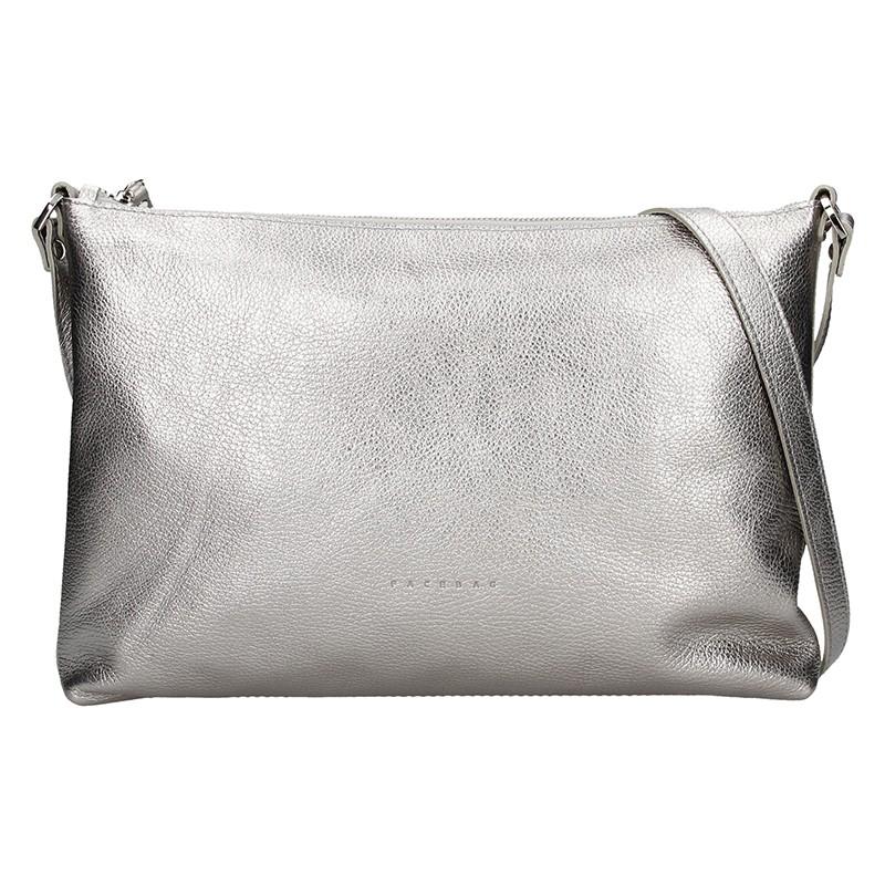 Trendy dámska kožená crossbody kabelka Facebag Elesna - strieborná.