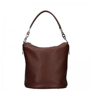 Dámska kožená kabelka Facebag Talma - tmavo hnedá