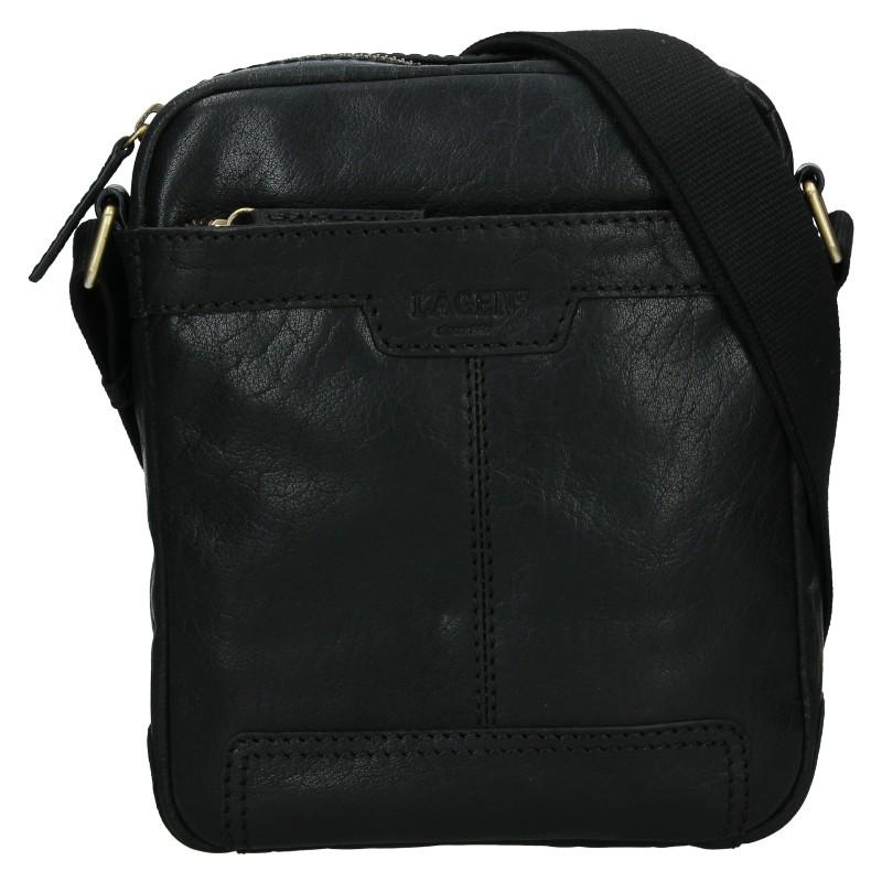 Pánska kožená taška cez rameno Lagen Vinston - čierna