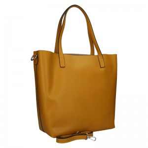 Dámska kožená kabelka Unidax Ninna - hořčicová