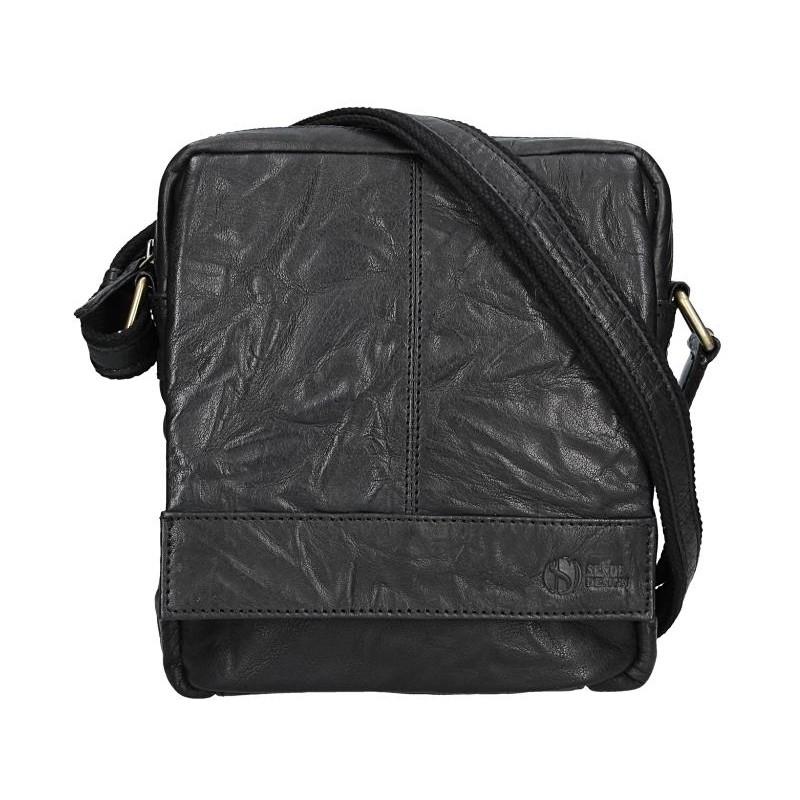 Pánska kožená taška cez rameno SendiDesign Mattia - čierna