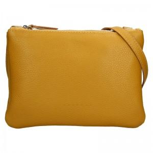 Trendy dámska kožená crossbody kabelka Facebag Beatrice - hořčicová