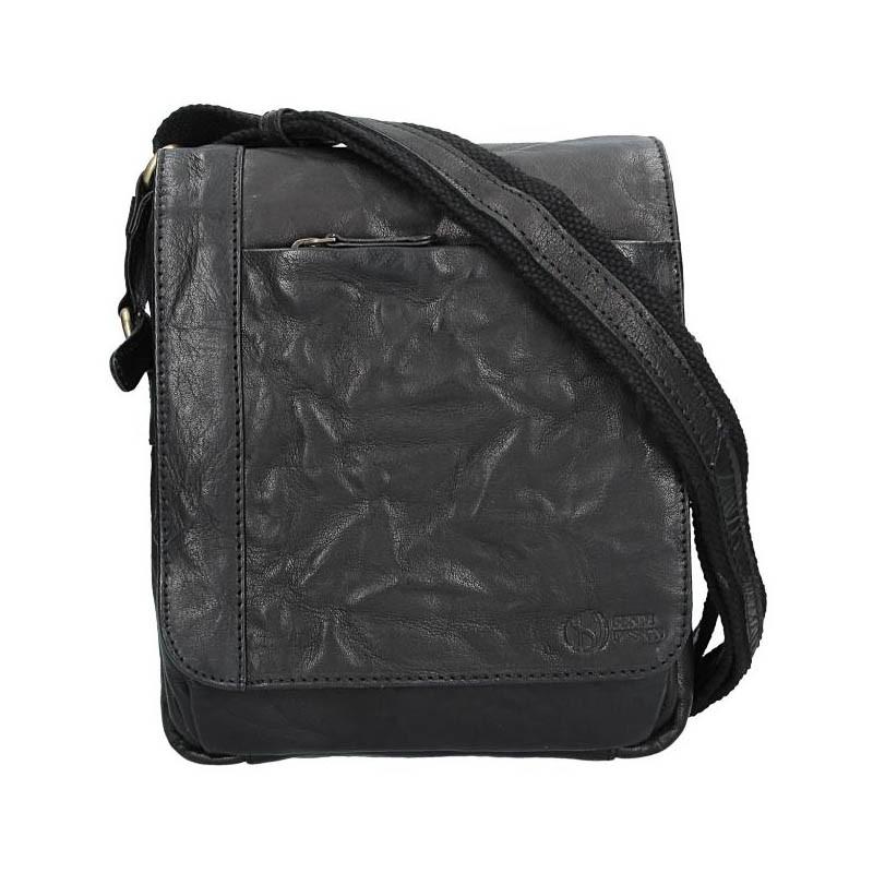 Pánska kožená taška cez rameno SendiDesign Timmy - čierna