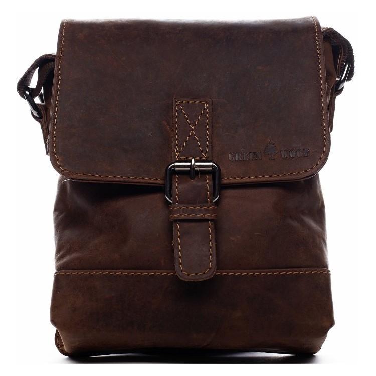Pánska kožená taška cez rameno Greenwood Dainan - hnedá