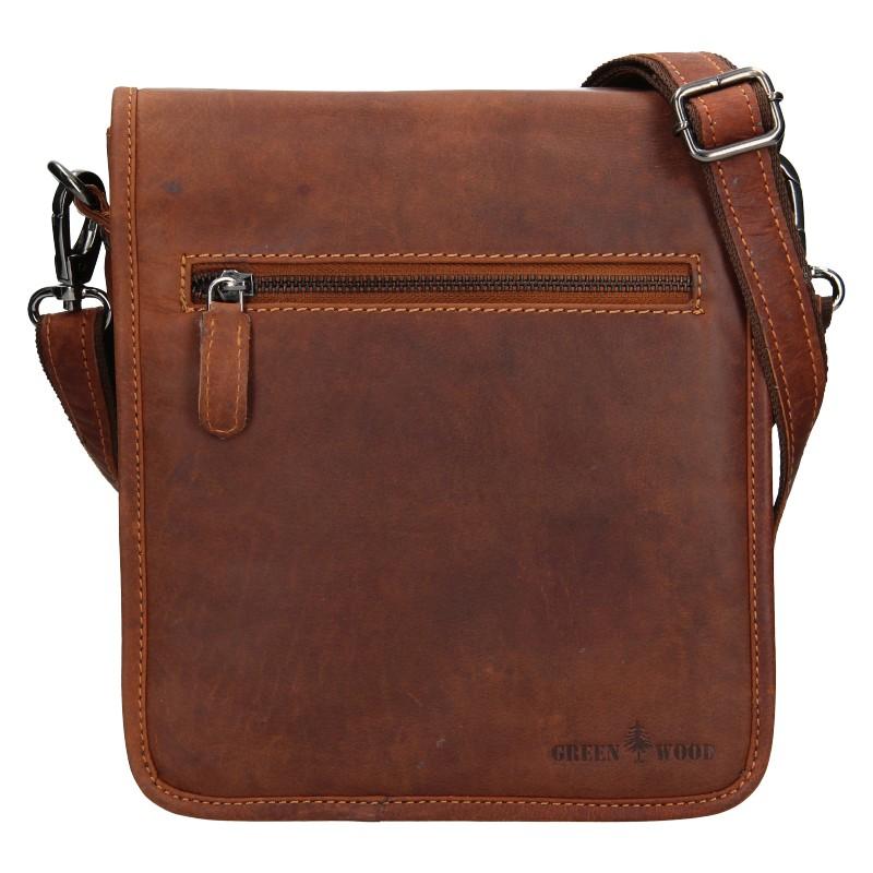 Pánska kožená taška cez rameno Greenwood David - hnedá