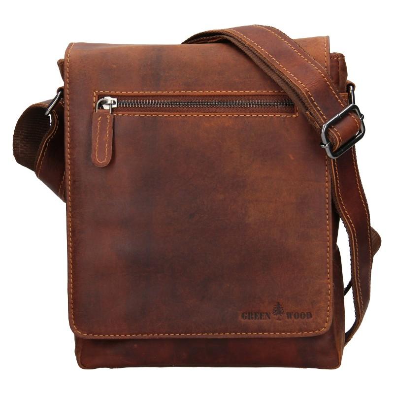 Pánska kožená taška cez rameno Greenwood Matthew - hnedá