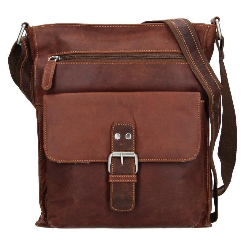 Pánska kožená taška cez rameno Greenwood Jordan - hnedá