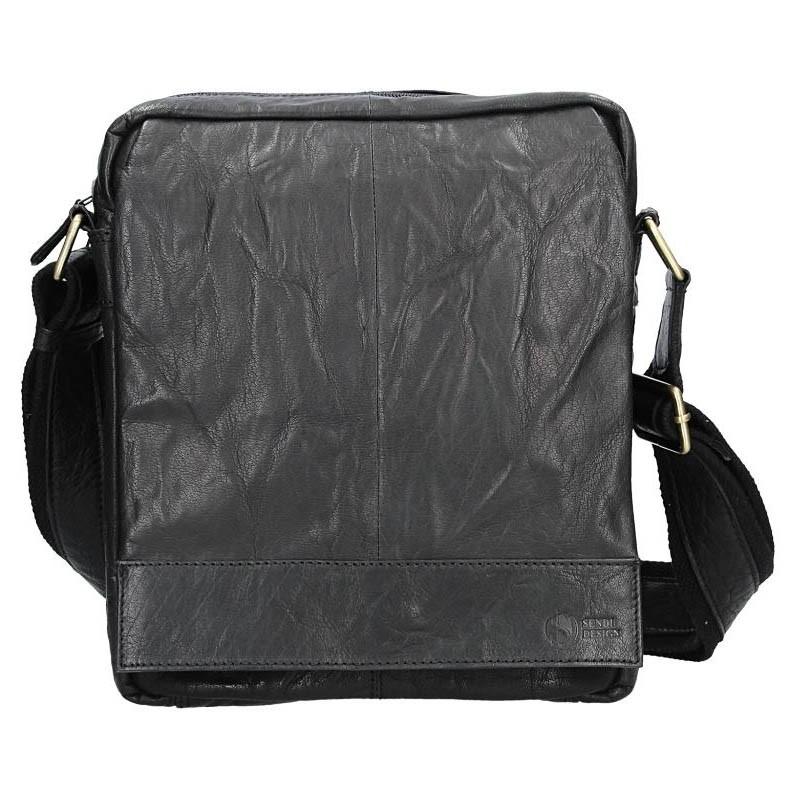 Pánska kožená taška cez rameno SendiDesign Vincent - čierna