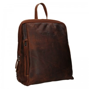 Kožený batoh Greenwood Liam - tmavo hnedá