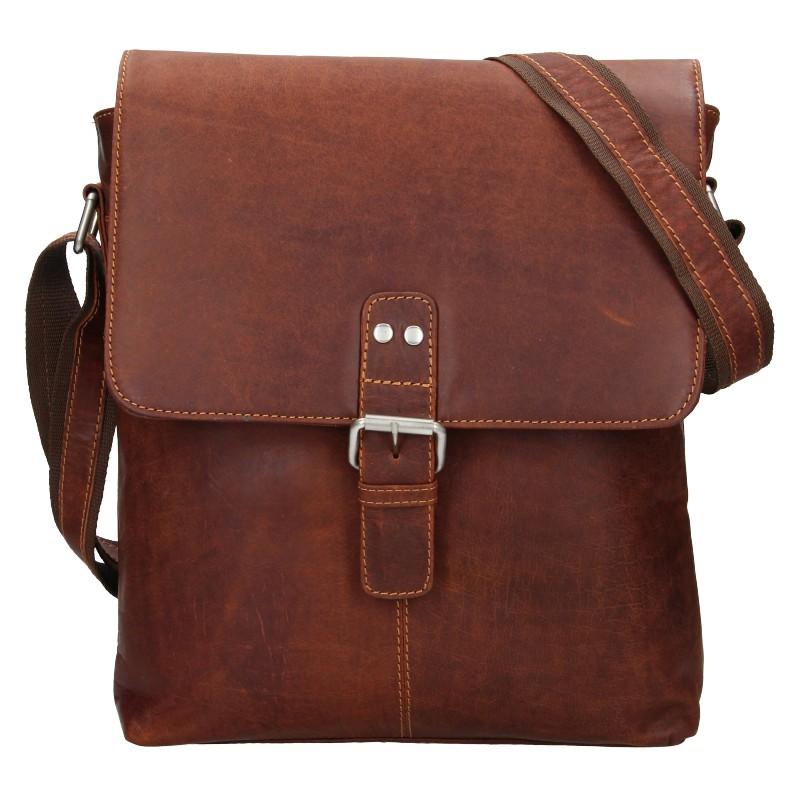 Pánska kožená taška cez rameno Greenwood Yuri - hnedá