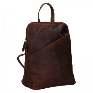 Dámsky kožený batoh Greenwood Jade - tmavo hnedá