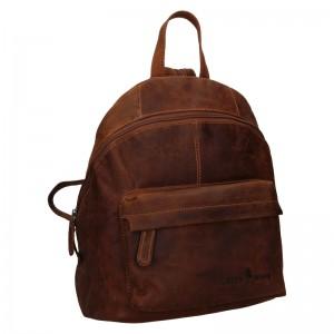 Kožený batoh Greenwood Leah - tmavo hnedá