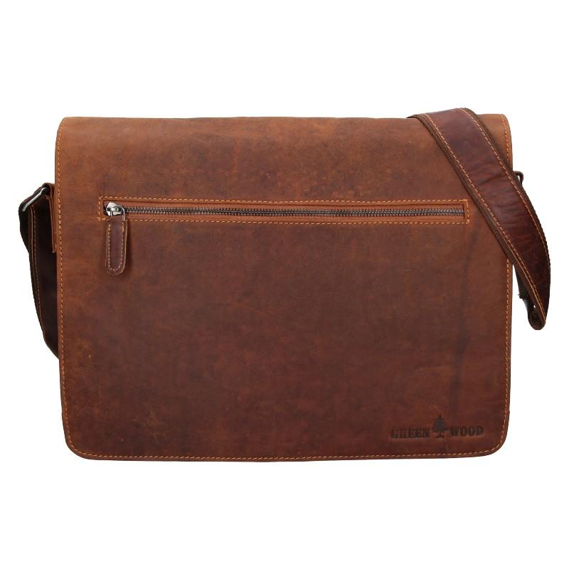 Pánska kožená taška cez rameno Greenwood Elliot - hnedá