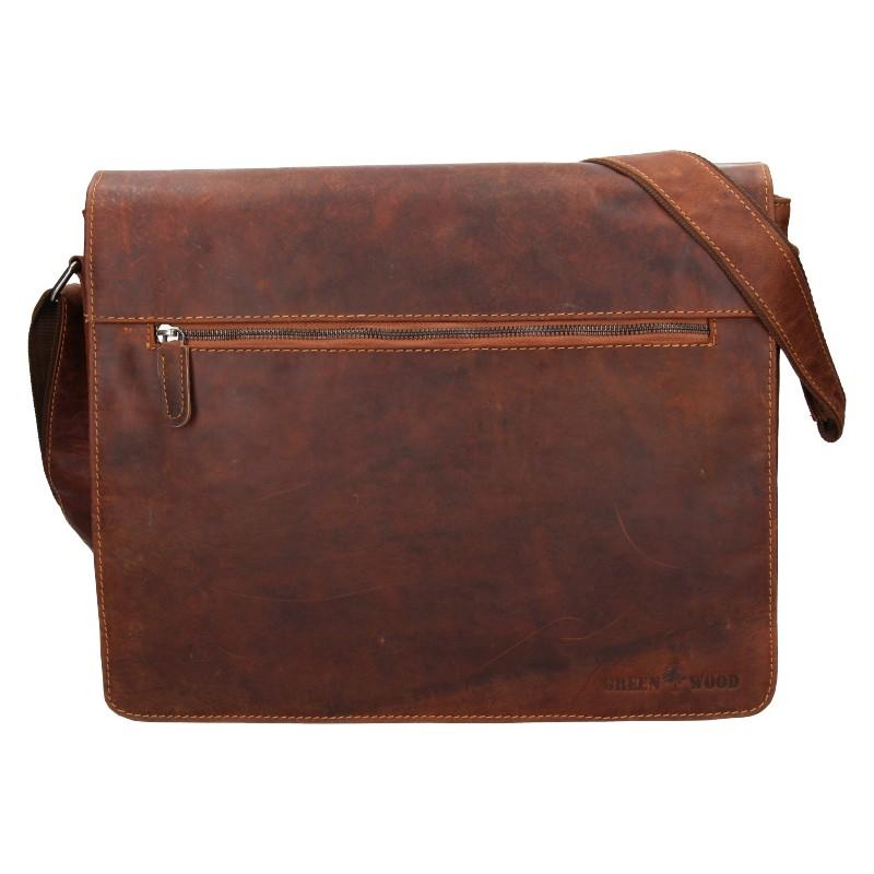 Pánska kožená taška cez rameno Greenwood Martin - hnedá