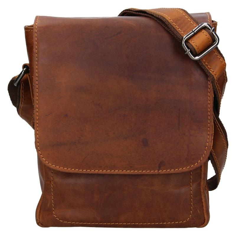 Pánska kožená taška cez rameno Greenwood Tomas- hnedá