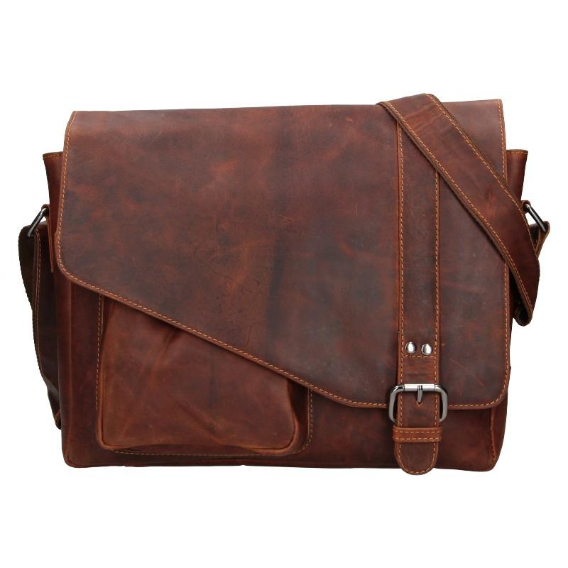 Pánska kožená taška cez rameno Greenwood Kane - hnedá
