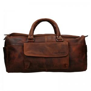 Kožená cestovná taška Greenwood Alex - hnedá