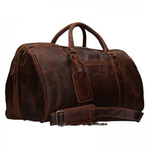 Kožená cestovná taška Greenwood Daniel - hnedá