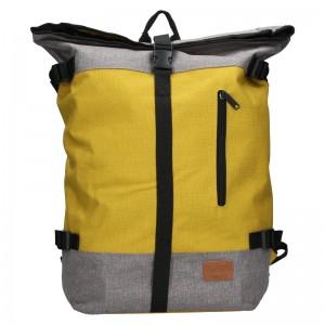Veľký trendy batoh New Rebels Marco - šedo-žltá