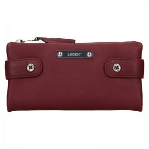 Dámska kožená peňaženka Lagen Monica - vínová