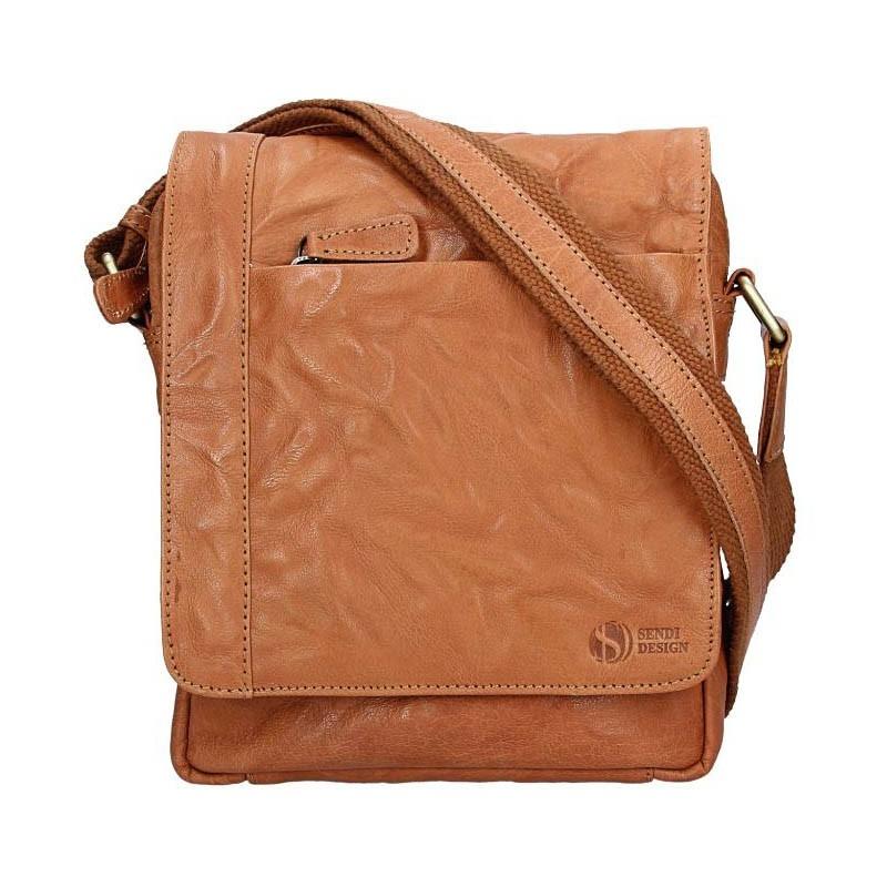 Pánska kožená taška cez rameno SendiDesign Apolon - hnedá