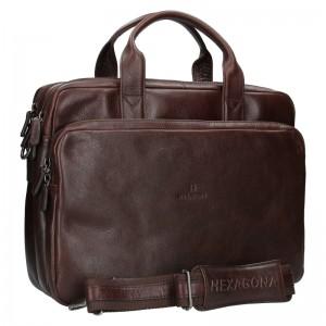 Pánska kožená taška cez rameno Hexagona Geraldo - hnedá
