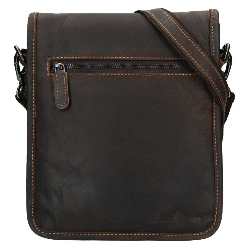 Pánska kožená taška cez rameno Greenwood David - tmavo hnedá