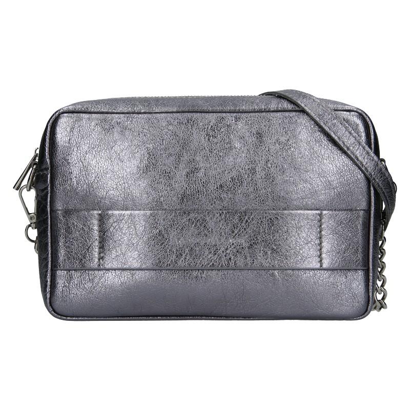 Trendy dámska kožená crossbody kabelka Facebag Ninas - striborná.