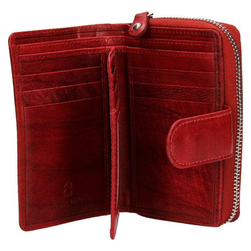 Dámska kožená peňaženka DD Anekta Fancy - tmavo červená