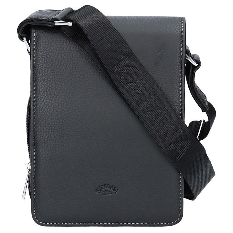 Pánska celokožená taška na doklady Katana klopu - čierna