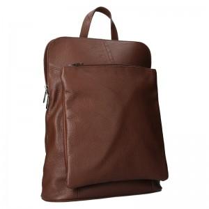 Kožený dámsky batoh Unidax Marion - tmavo hnedá