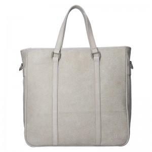 Kožená taška na notebook Facebag Neapol - šedá