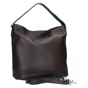 Elegantná dámska kožená kabelka Katana Jindra - tmavo hnedá