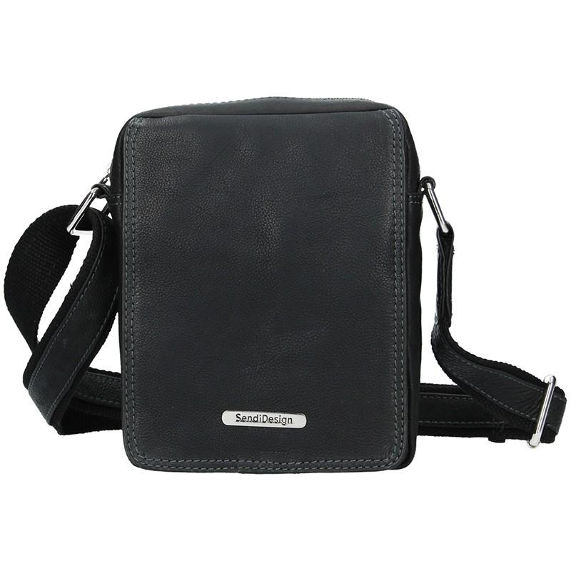 Pánska kožená taška cez rameno SendiDesign Patrik - čierna