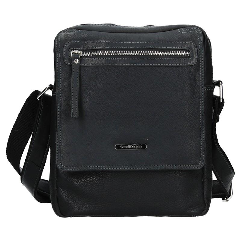 Pánska kožená taška cez rameno SendiDesign Trevor - čierna