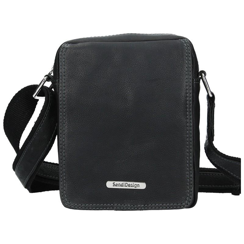 Pánska kožená taška cez rameno SendiDesign Nilson - čierna