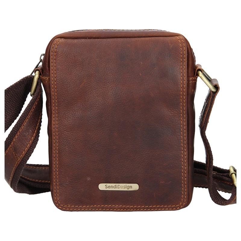 Pánska kožená taška cez rameno SendiDesign Nilson - hnedá