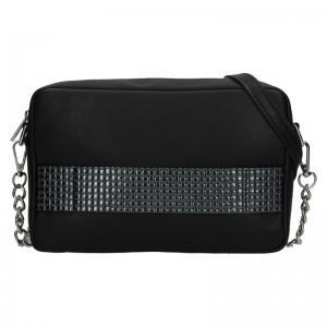 Trendy dámska kožená crossbody kabelka Facebag Ninas - čierno-strieborná