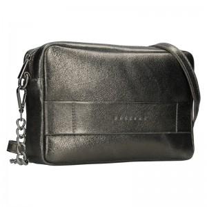 Trendy dámska kožená crossbody kabelka Facebag Ninas - šedo-strieborná