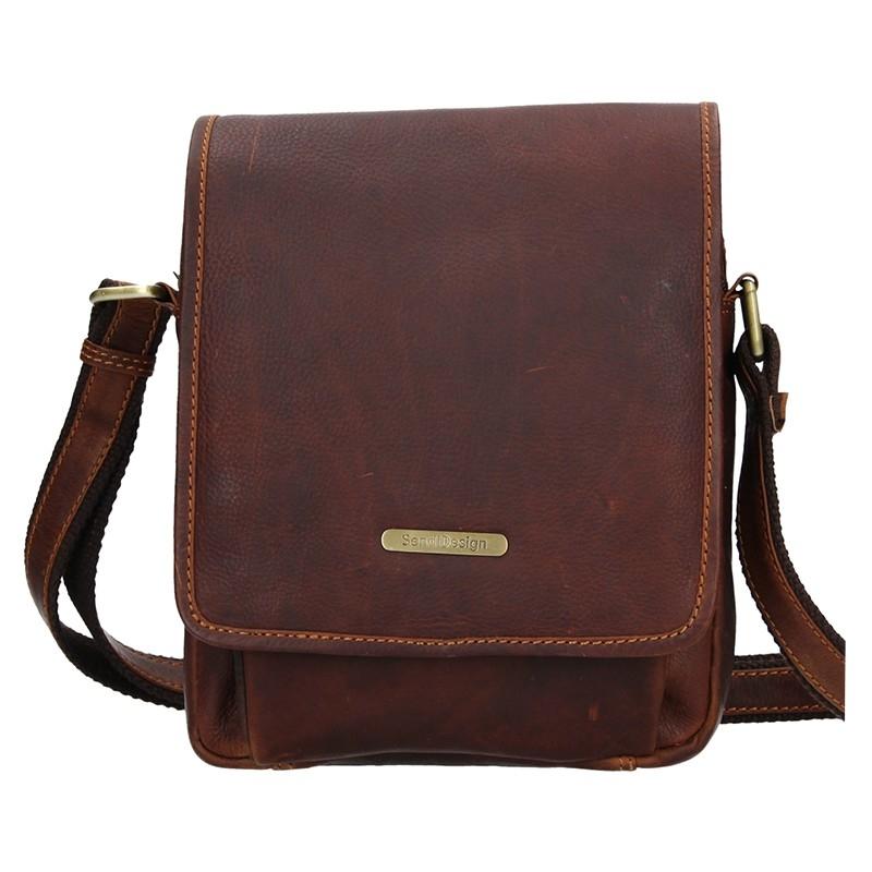 Pánska kožená taška cez rameno SendiDesign Merkúr - hnedá