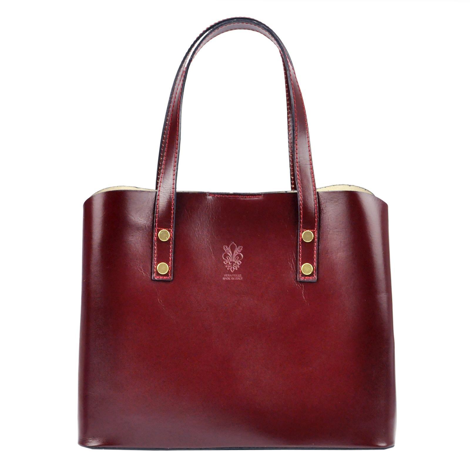 Dámska kožená kabelka Vera Pelle Hannah - vínová