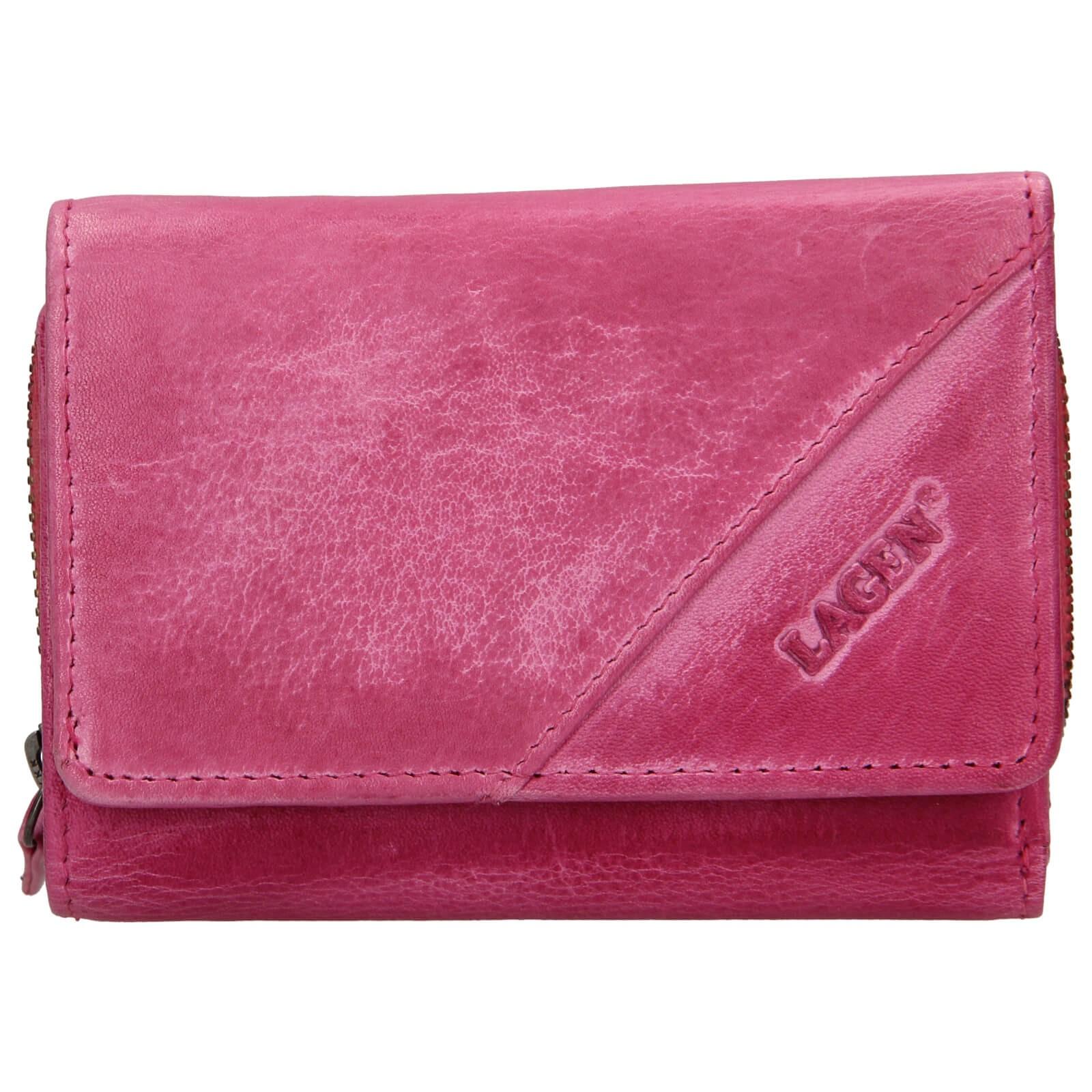 Dámska kožená peňaženka Lagen Norras - ružová