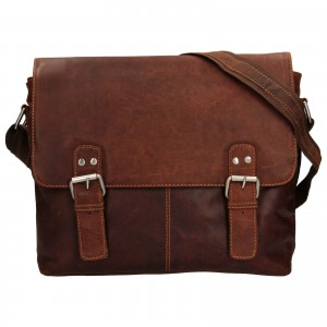 Pánska kožená taška cez rameno Greenwood Adrian - tmavo hnedá