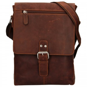 Pánska kožená taška cez rameno Greenwood Alister - tmavo hnedá