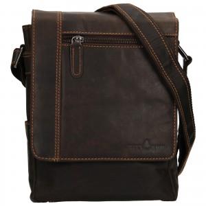 Pánska kožená taška cez rameno Greenwood Steen - tmavo hnedá