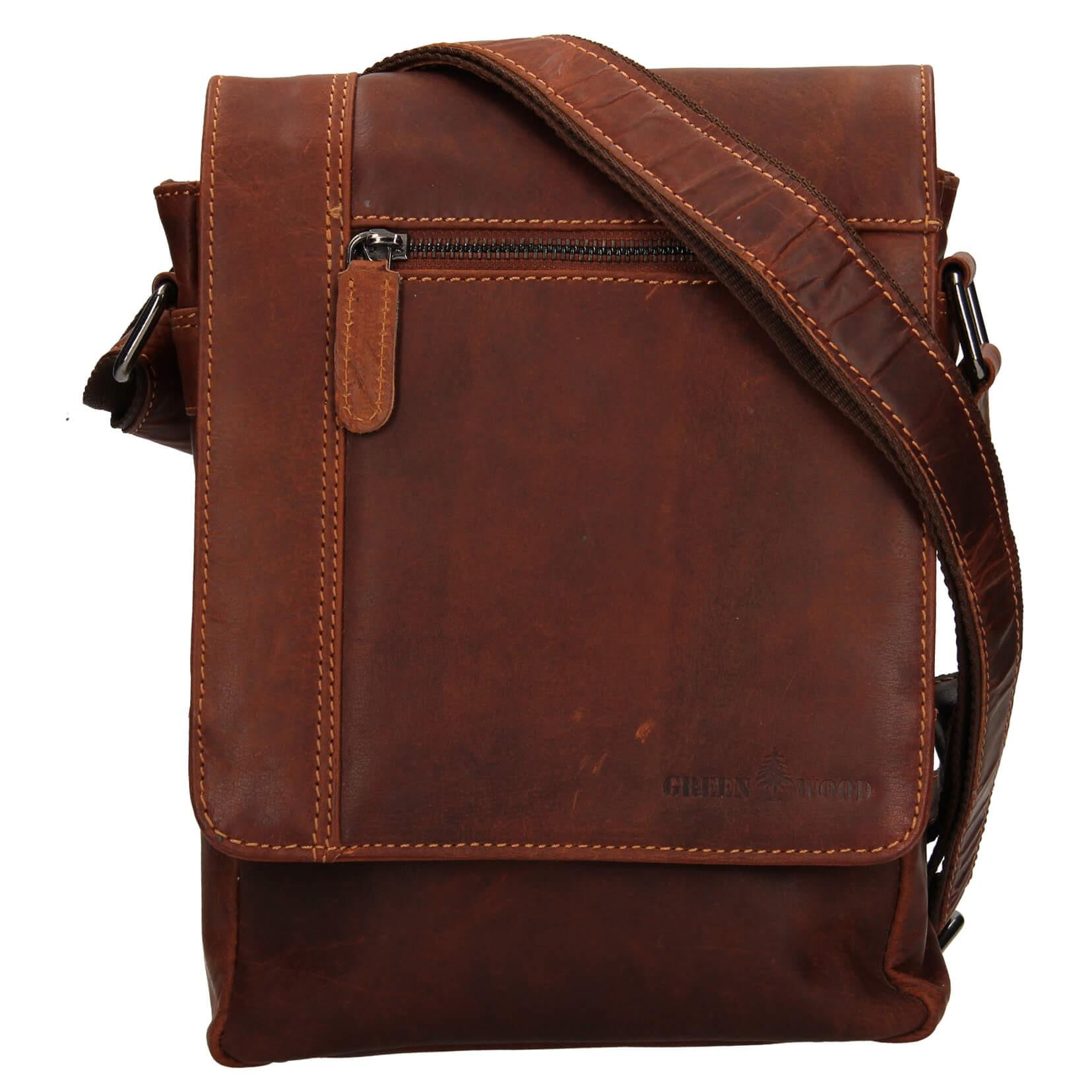Pánska kožená taška cez rameno Greenwood Steen - hnedá