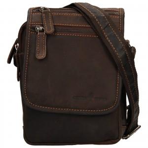 Pánska kožená taška cez rameno Greenwood Stefan - tmavo hnedá