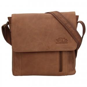 Pánska kožená taška Always Wild Cesana - svetlo hnedá
