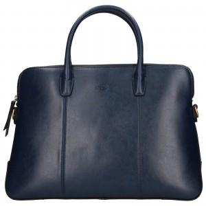 Elegantná dámska kožená kabelka Katana Celesta - tmavo modrá